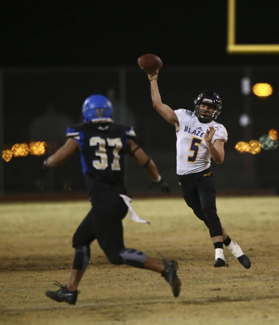 Durango's Kaden Renshaw (5) makes a pass during a football game at Sierra Vista High School in Las Vegas on Friday, Oct. 13, 2017. Chase Stevens Las Vegas Review-Journal @csstevensphoto