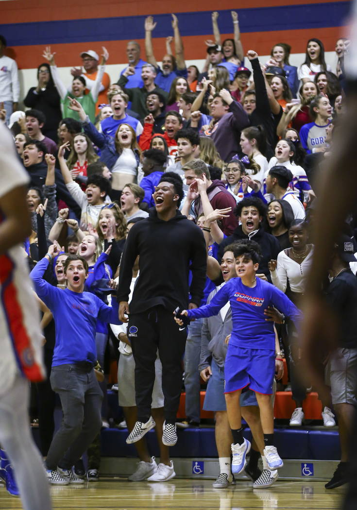 Bishop Gorman fans react as their team takes the lead over Clark in the final moments of a basketball game at Bishop Gorman High School in Las Vegas on Friday, Feb. 9, 2018. Chase Stevens Las Vega ...