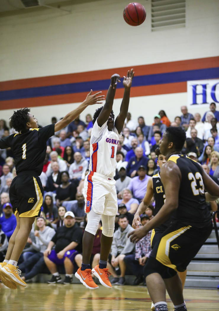 Bishop Gorman's Will McClendon (1) goes up for a shot against Clark during a basketball game at Bishop Gorman High School in Las Vegas on Friday, Feb. 9, 2018. Chase Stevens Las Vegas Review-Journ ...
