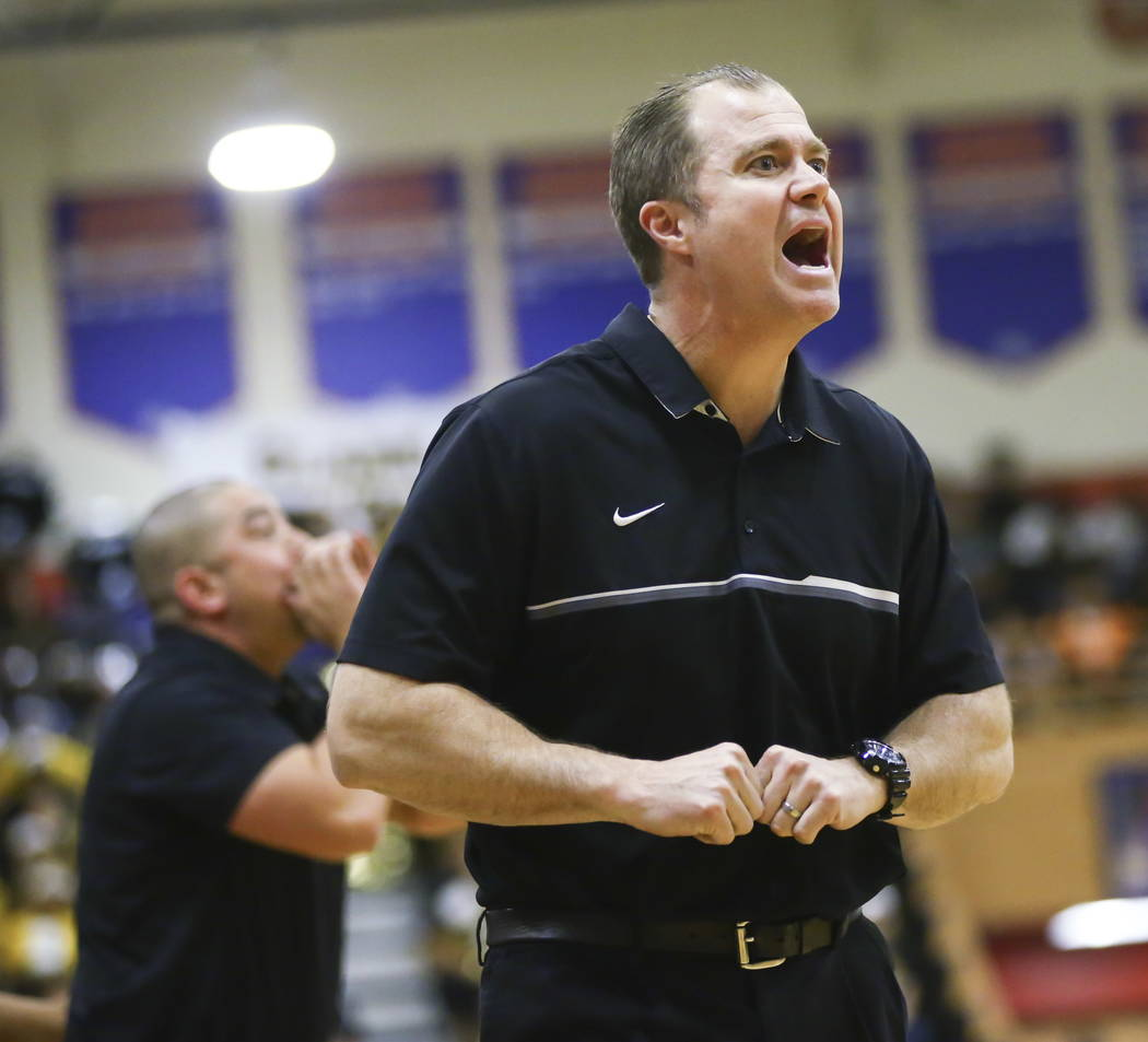 Bishop Gorman head coach Grant Rice reacts as his team takes on Clark during a basketball game at Bishop Gorman High School in Las Vegas on Friday, Feb. 9, 2018. Chase Stevens Las Vegas Review-Jou ...