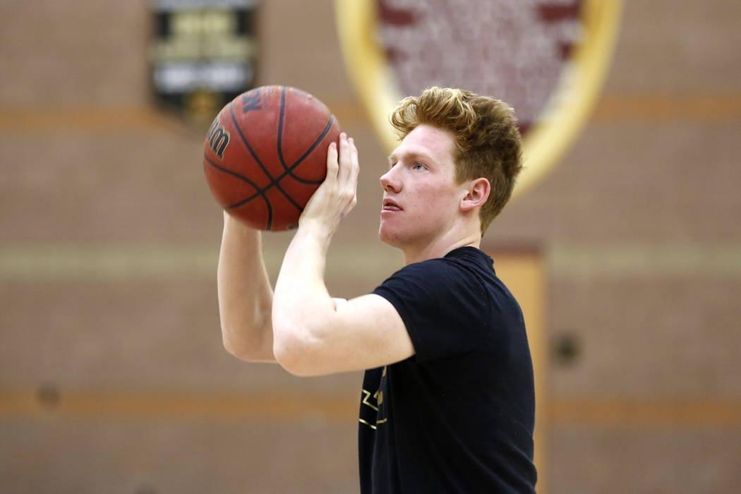Elijah Kothe shoots the ball during basketball practice at Faith Lutheran High School in Las Vegas on Saturday, Feb. 10, 2018. Andrea Cornejo Las Vegas Review-Journal @DreaCornejo