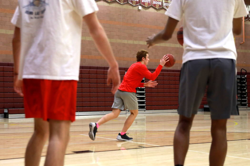 The Faith Lutheran Basketball Team, which won the Northwest League title, practices in the gym at Faith Lutheran High School  in Las Vegas on Saturday, Feb. 10, 2018. Andrea Cornejo Las Vegas Revi ...