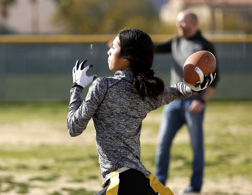 Tiarra Del Rosario, one of the best flag football players in the state, practices at Cimarron-Memorial High School in Las Vegas on Monday, Feb. 12, 2018. Andrea Cornejo Las Vegas Review-Journal @D ...