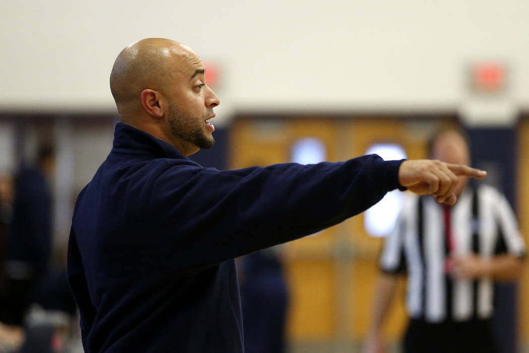 Canyon Springs' head coach Chris Walker directs his team  against Foothill during the Sunrise Region semifinals at Canyon Springs High School in North Las Vegas on Thursday, Feb. 15 2018. Andrea C ...