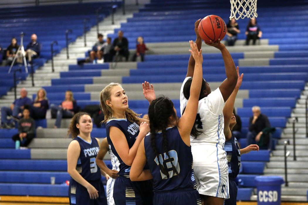 Canyon Springs' Kayla Rossum (34) shoots against Foothill during the Sunrise Region semifinals at Canyon Springs High School in North Las Vegas on Thursday, Feb. 15 2018. Andrea Cornejo Las Vegas  ...