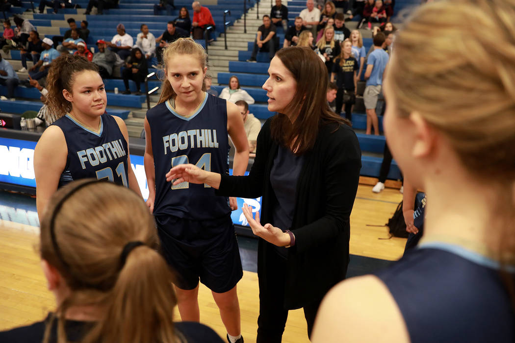 Foothill's head coach Laura Allen talks to her team during the Sunrise Region semifinals at Canyon Springs High School in North Las Vegas on Thursday, Feb. 15 2018. Andrea Cornejo Las Vegas Review ...