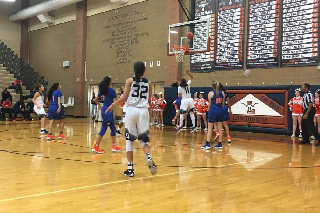 Spring Valley's Kayla Harris (11) goes up for a shot in a Sunset Region semifinal game against Bishop Gorman at Legacy High School in North Las Vegas, Feb. 15, 2018. Justin Emerson/Las Vegas Revie ...