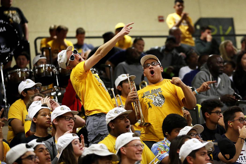 Fans cheer during the Sunset Region boys basketball championship at Legacy High School in North Las Vegas on Saturday, Feb. 17, 2018. Bishop Gorman won 57-46. Andrea Cornejo Las Vegas Review-Journ ...