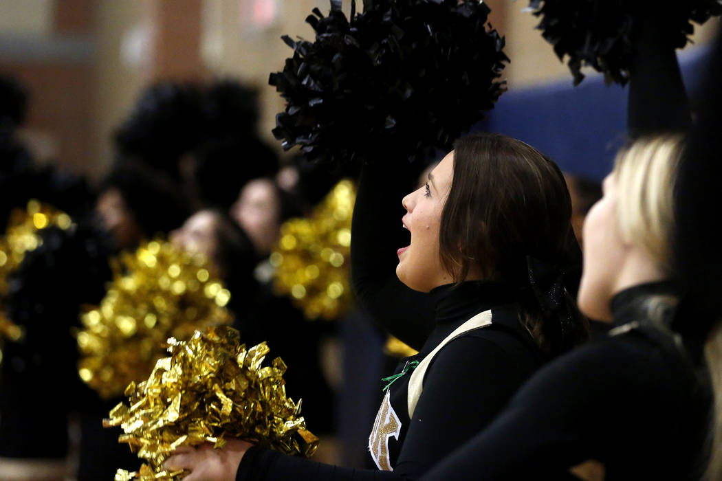 Clark cheerleaders cheer during the Sunset Region boys basketball championship at Legacy High School in North Las Vegas on Saturday, Feb. 17, 2018. Andrea Cornejo Las Vegas Review-Journal @DreaCornejo