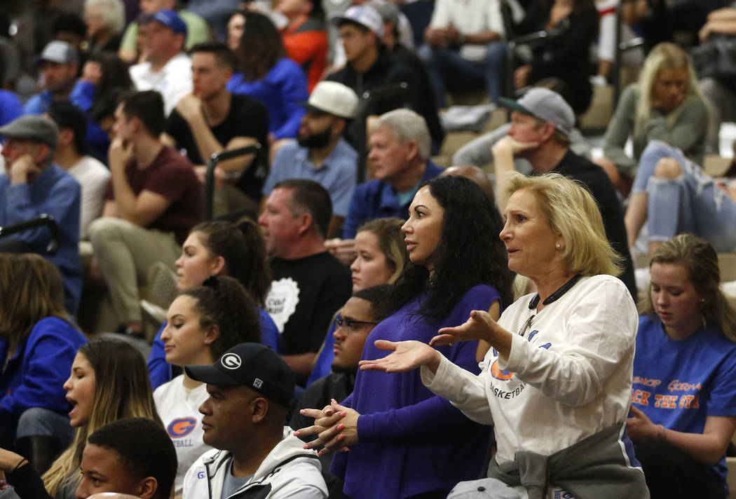 Fans react during the Sunset Region boys basketball championship at Legacy High School in North Las Vegas on Saturday, Feb. 17, 2018. Bishop Gorman won 57-46. Andrea Cornejo Las Vegas Review-Journ ...