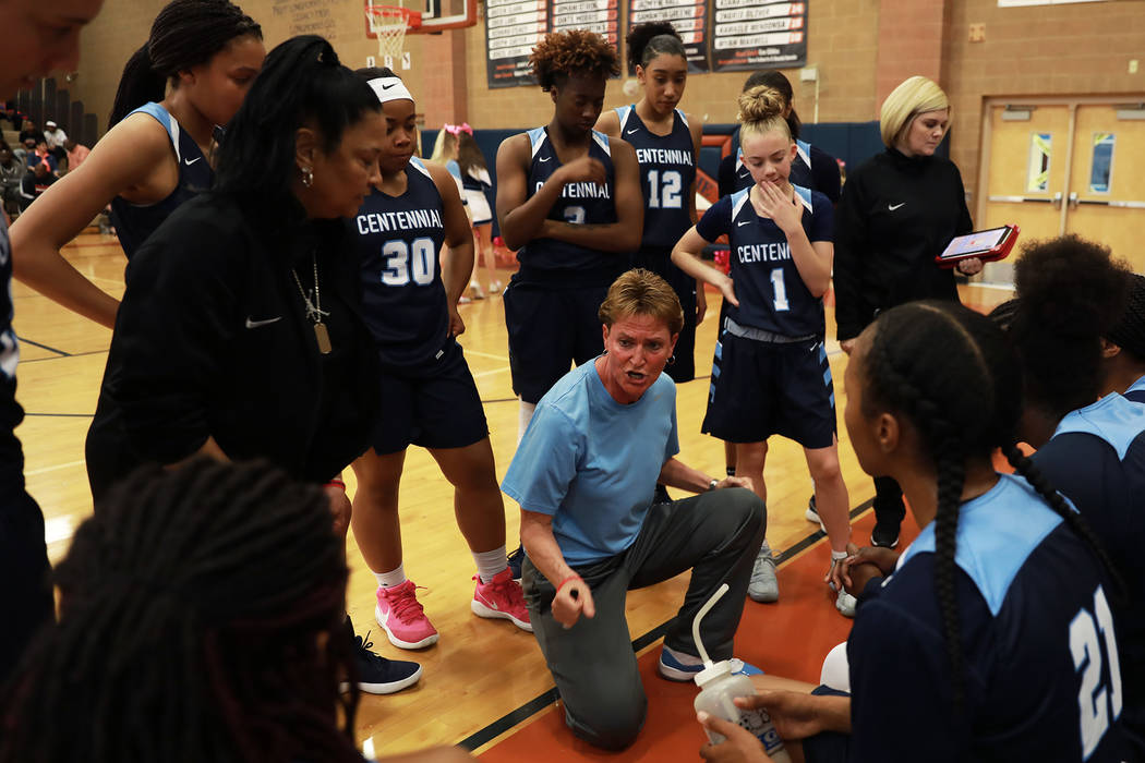 Centennial head coach Karen Weitz directs her team against Spring Valley during the Sunset Region girls basketball championship at Legacy High School in North Las Vegas on Saturday, Feb. 17, 2018. ...