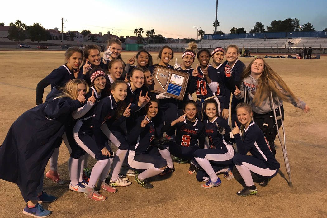 Coronado's flag football team celebrates its Sunrise Region championship at Green Valley High School in Henderson, Feb. 20, 2018. Courtesy: Coronado flag football.