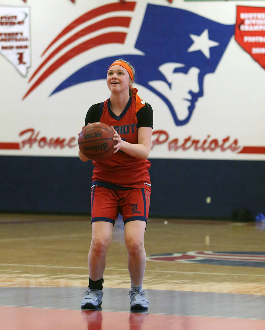 Liberty High's London Pavlica prepares to shoot for the basket during teams practice at their school on Tuesday, Feb. 20, 2018, in Las Vegas. Bizuayehu Tesfaye/Las Vegas Review-Journal @bizutesfaye