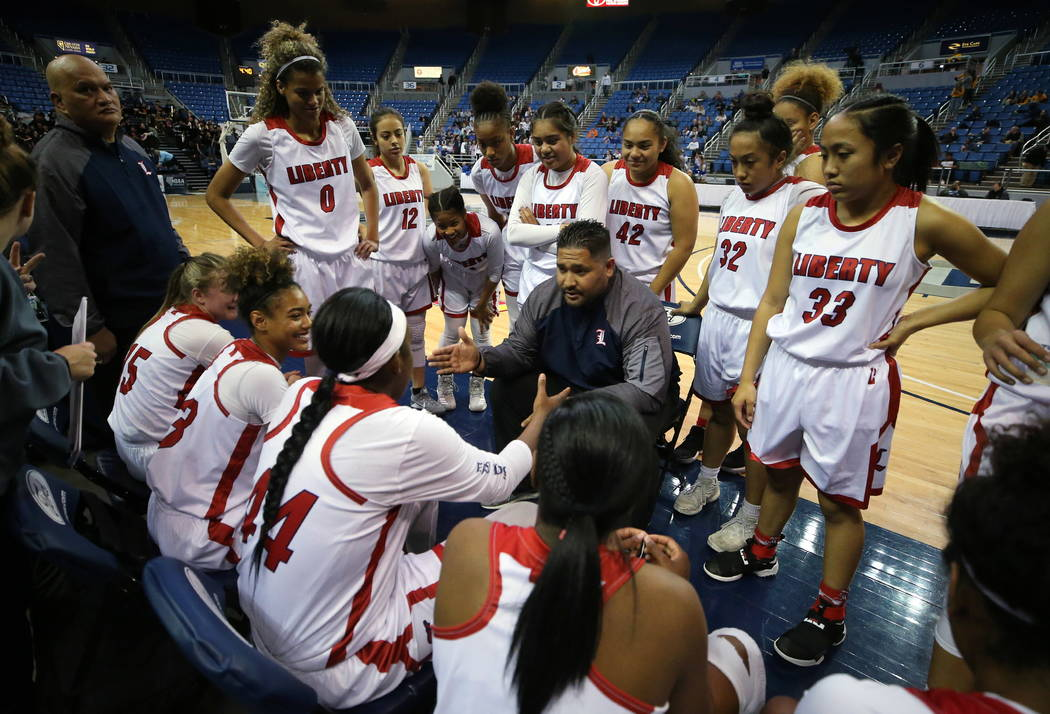 Liberty's head coach Chad Kapanui talks to his team during the NIAA state basketball tournament in Reno, Nev. on Thursday, Feb. 22, 2018. Liberty defeated McQueen 71-33. Cathleen Allison/Las Vegas ...