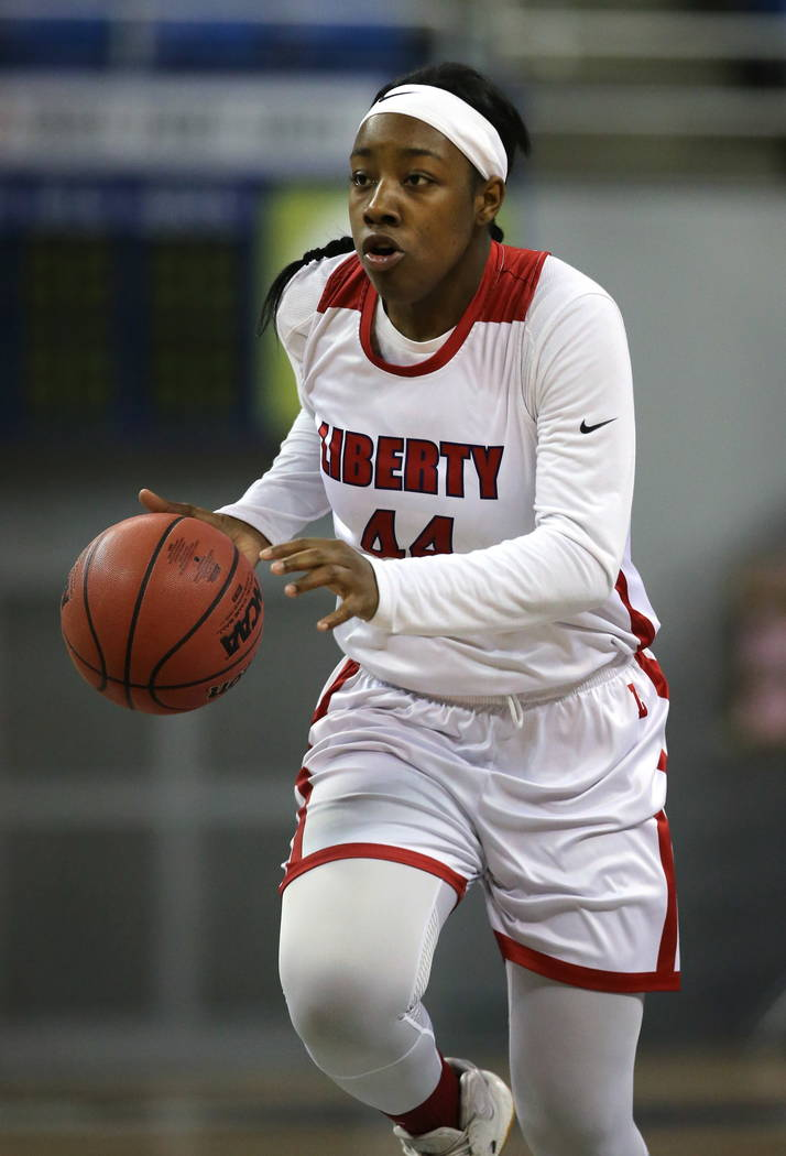 Liberty's Dre'una Edwards had 28 points and 11 rebounds against McQueen during the NIAA state basketball tournament in Reno, Nev. on Thursday, Feb. 22, 2018. Liberty defeated McQueen 71-33. Cathle ...