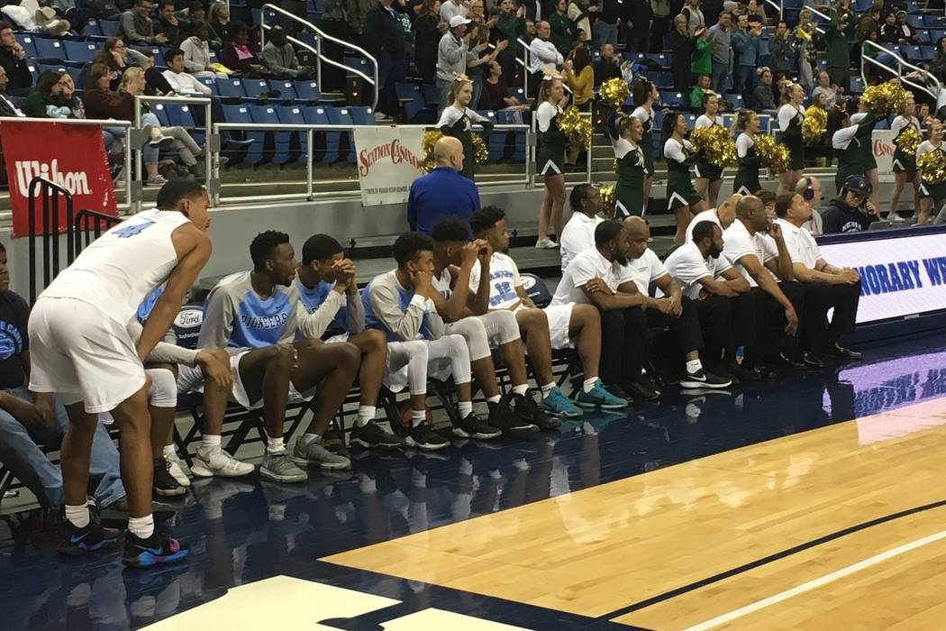 Canyon Springs' bench reacts in the final seconds of its game against Bishop Manogue in the Class 4A state semifinals at Lawlor Events Center in Reno, Feb. 22, 2018. Justin Emerson/Las Vegas Revie ...
