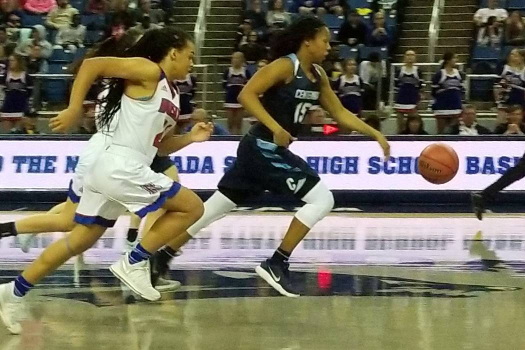 Daejah Phillips advances the ball against Reno on Thursday, Feb. 22, 2018 at Lawlor Events Center in Reno. Centennial beat Reno High 68-30 in the Class 4A state semifinals. (Damon Seiters/Las Vega ...