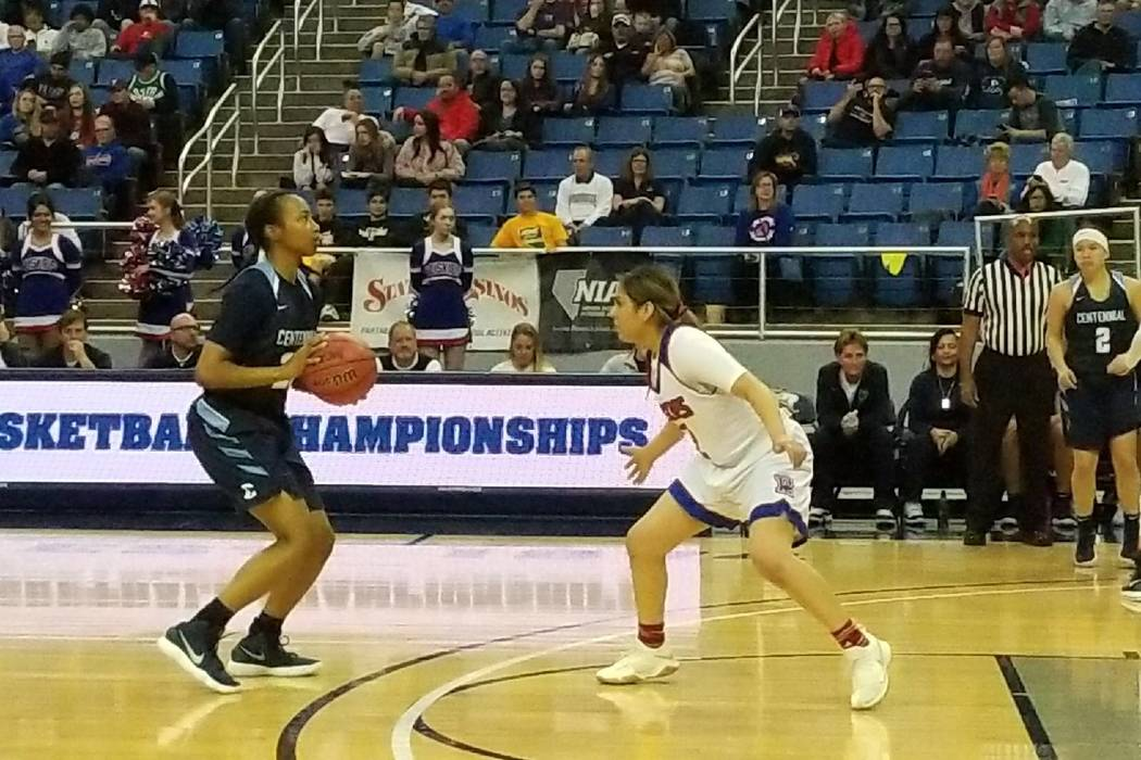 Justice Ethridge prepares to shoot a 3-pointer against Reno on Thursday, Feb. 22, 2018 at Lawlor Events Center in Reno. Centennial beat Reno High 68-30 in the Class 4A state semifinals. (Damon Sei ...