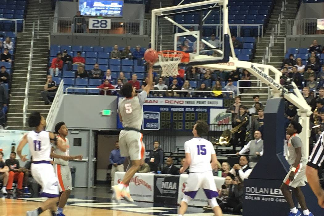 Bishop Gorman's Jamal Bey goes up for a shot during the team's Class 4A state semifinal game against Spanish Springs at Lawlor Events Center in Reno, Feb. 22, 2018. Justin Emerson/Las Vegas Review ...
