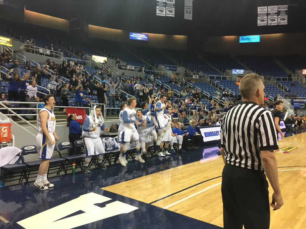 Pahranagat Valley's bench reacts after tying the game in the fourth quarter against Mineral County in the Class 1A state semifinals at the Lawlor Events Center in Reno, Feb. 23, 2018. Justin Emers ...