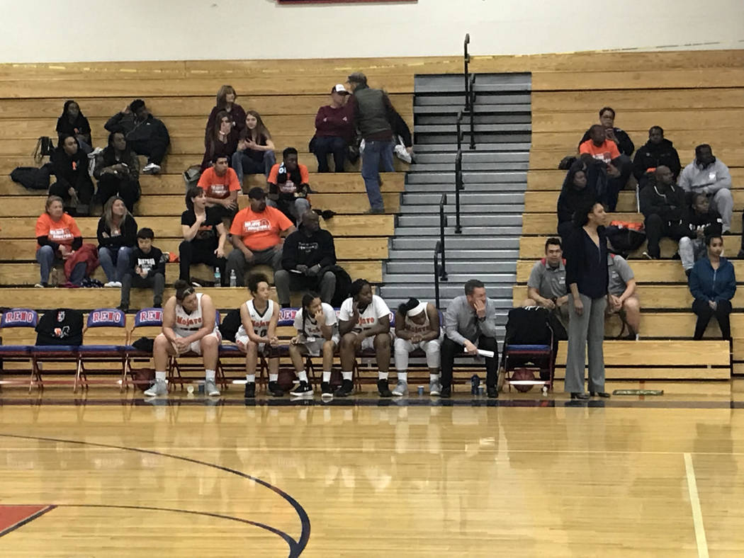 Mojave players watch from the bench in the second half of the Rattlers' 73-38 loss to Lowry on Friday afternoon at Reno High School. Sam Gordon/Review-Journal.