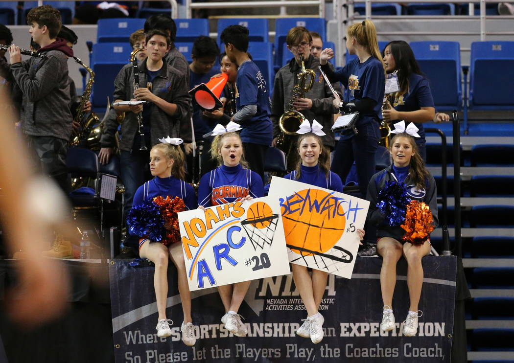 Bishop Gorman cheerleaders cheer on their team in the 4A NIAA state basketball championship game in Reno, Nev., on Friday, Feb. 23, 2018. Gorman defeated Bishop Manogue 62-41. Cathleen Allison/Las ...