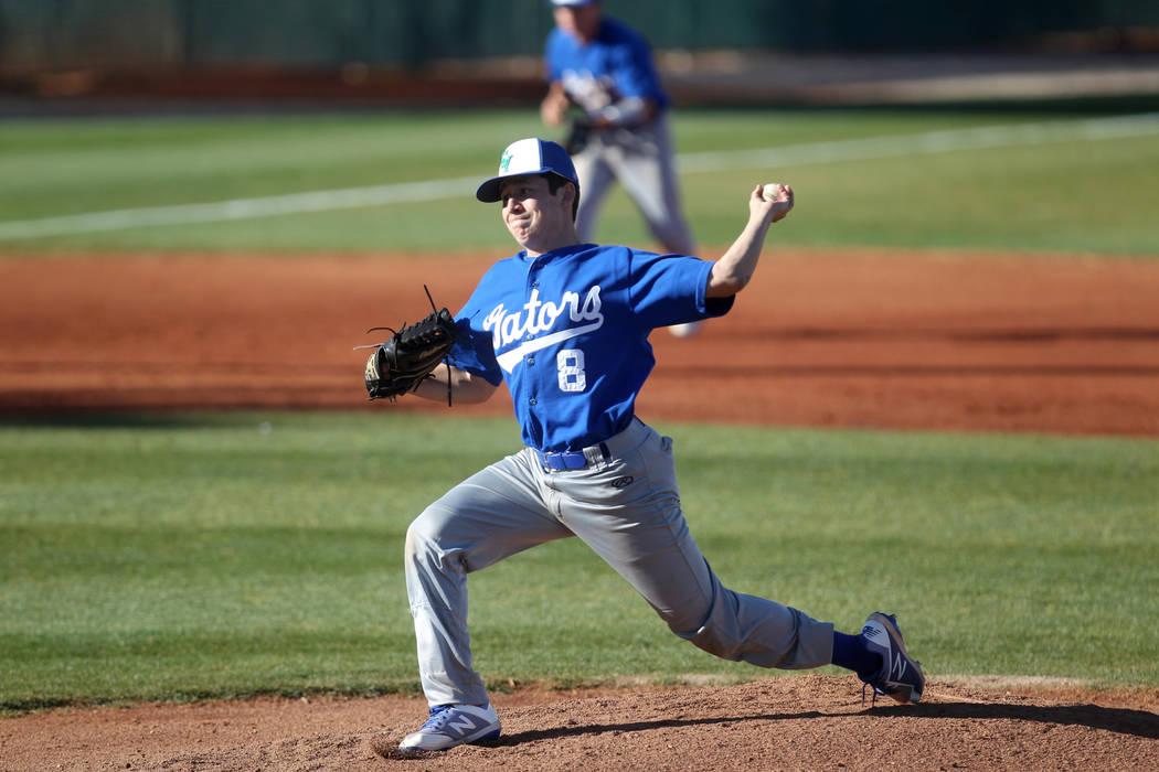 Green Valley pitcher Joe DiGiacomo throws against Desert Oasis at Desert Oasis High School in Las Vegas Thursday, March 8, 2018. K.M. Cannon Las Vegas Review-Journal @KMCannonPhoto