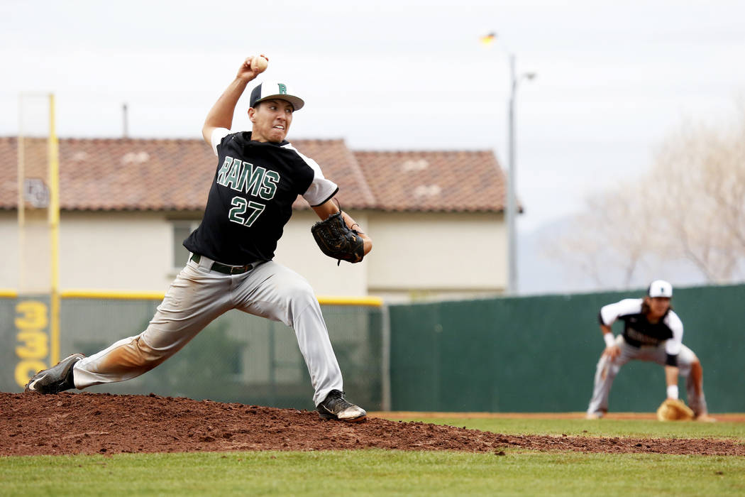 Rancho Rams' Anthony Guzman (27) pitches against the Arbor View Aggies at Desert Oasis High School in Las Vegas on Saturday, March 10, 2018. The Rams won 10-4. Andrea Cornejo Las Vegas Review-Jour ...