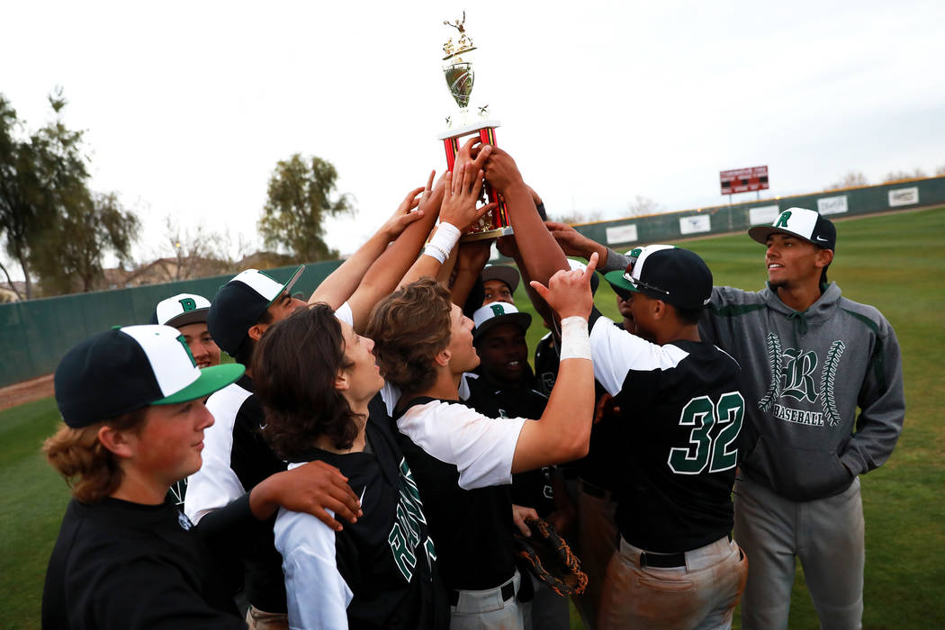 The Rancho Rams baseball team celebrates after beating the Arbor View Aggies at Desert Oasis High School in Las Vegas on Saturday, March 10, 2018. The Rams won 10-4. Andrea Cornejo Las Vegas Revie ...