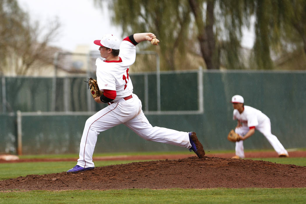 Arbor View Aggies' Connor Strong (18) pitches against the Rancho Rams at Desert Oasis High School in Las Vegas on Saturday, March 10, 2018. Andrea Cornejo Las Vegas Review-Journal @DreaCornejo