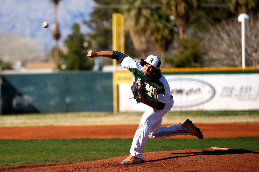 Rancho Rams' Layton Walls (41) pitches against the Liberty Patriots during a game at Rancho High School on Monday, March 12, 2018, in Las Vegas. The Rams won 11-1. Andrea Cornejo Las Vegas Review- ...