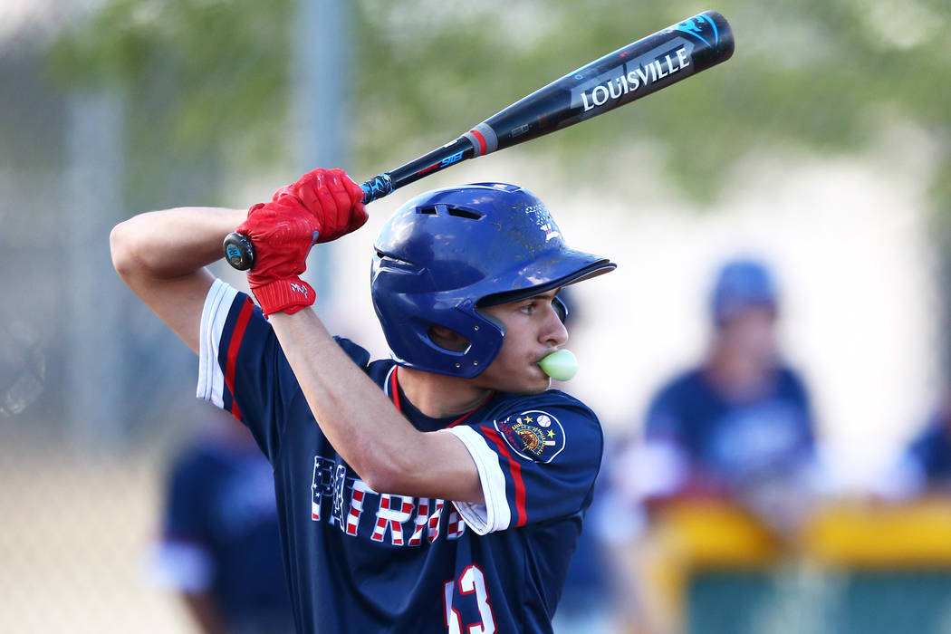 Liberty Patriots' James Katona (53) bats against the Rancho Rams at Rancho High School on Monday, March 12, 2018, in Las Vegas. The Rams won 11-1. Andrea Cornejo Las Vegas Review-Journal @DreaCornejo
