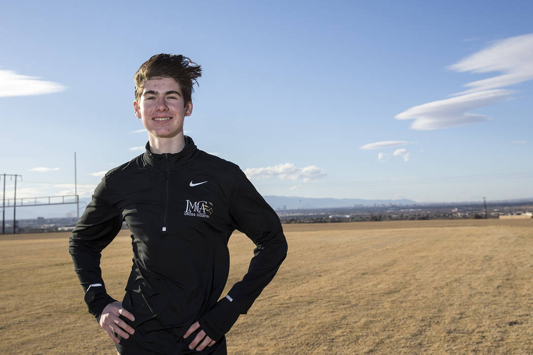 Lake Mead Christian Academy runner Shay Rutledge, one of the state's top distance runners, poses at the school's track on Thursday, March 1, 2018. Richard Brian Las Vegas Review-Journal @vegasphot ...