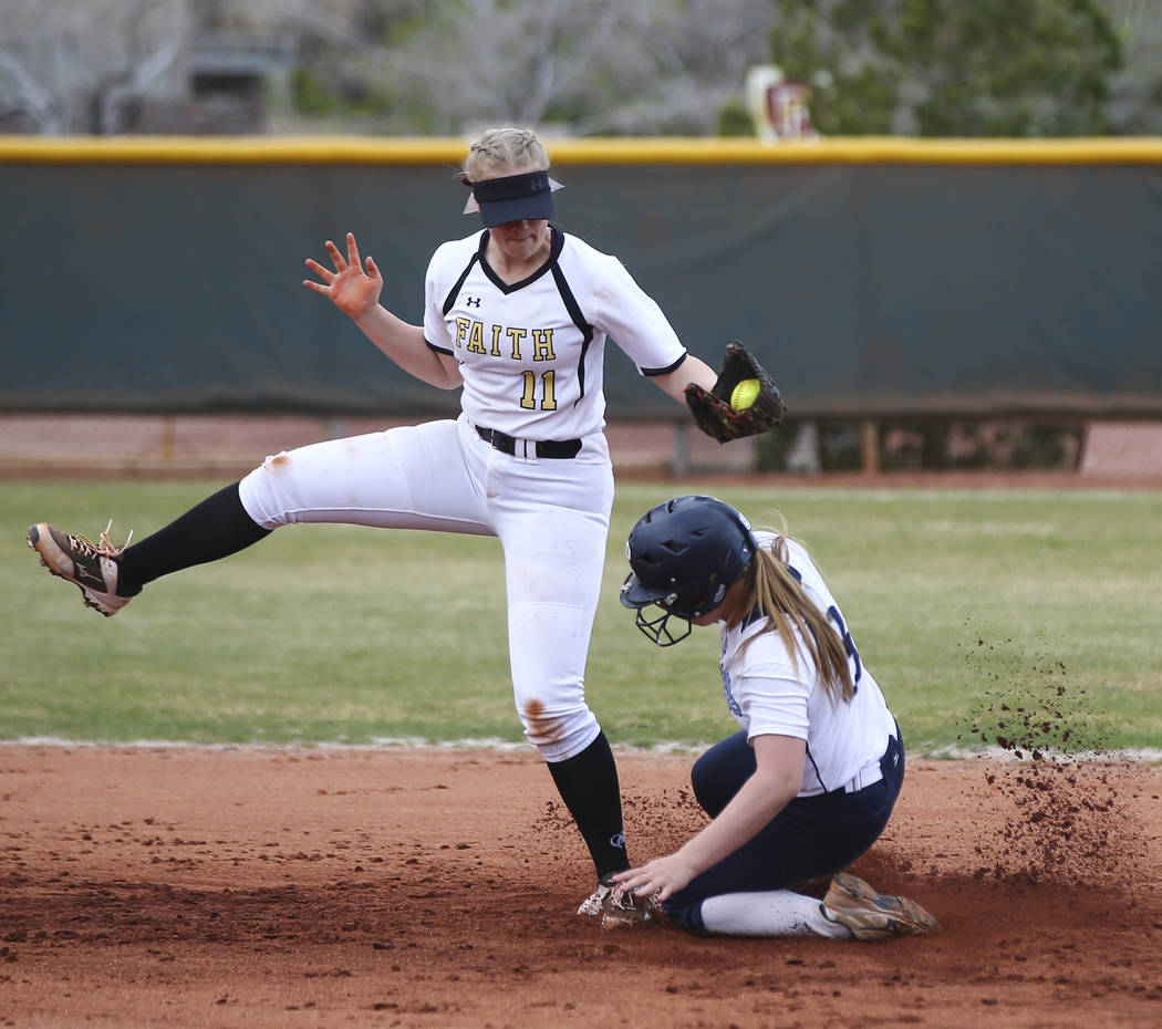 Centennial's Ashlynn Heck (8) gets to second base safely against Faith Lutheran's Maggie Whipple (11) during a softball game at Faith Lutheran in Las Vegas on Tuesday, March 13, 2018. Centennial w ...