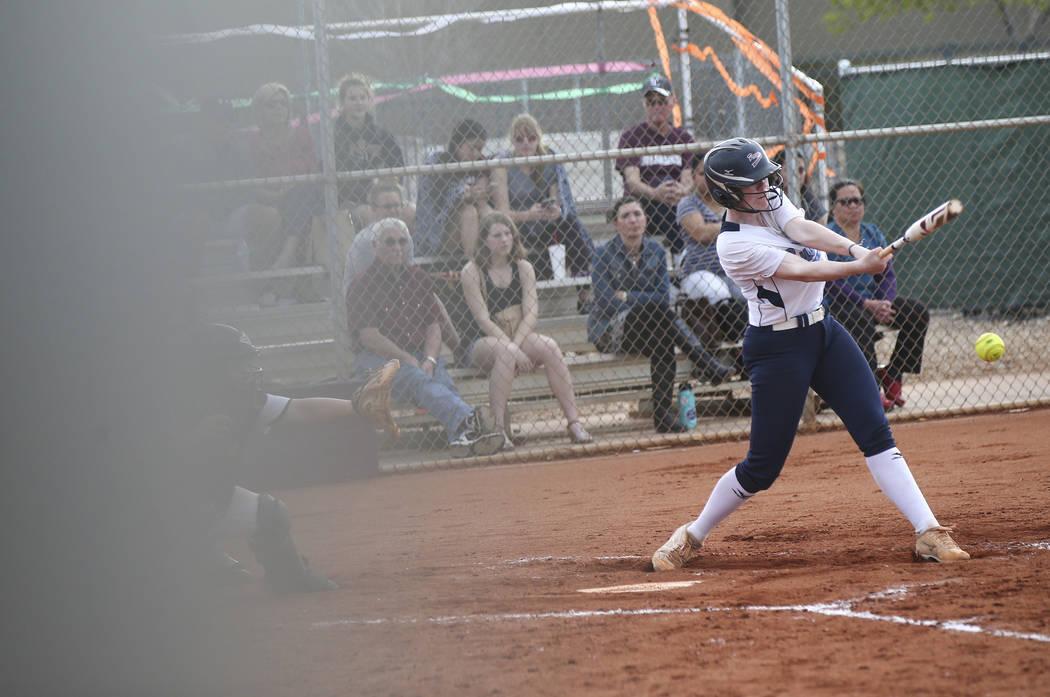 Centennial's Jillian Bartley (7) hits the ball during a softball game at Faith Lutheran in Las Vegas on Tuesday, March 13, 2018. Centennial won 14-1. Chase Stevens Las Vegas Review-Journal @csstev ...