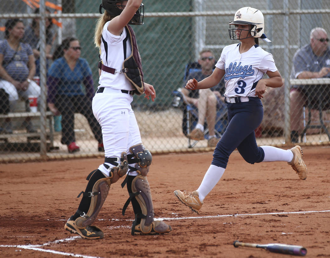 Centennial's Natasha Lawrence (3) scores a run during a softball game at Faith Lutheran in Las Vegas on Tuesday, March 13, 2018. Centennial won 14-1. Chase Stevens Las Vegas Review-Journal @csstev ...