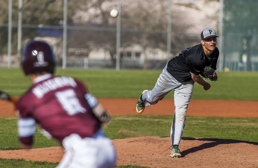 Palo Verde's Peyton Cole pitches against Cimarron-Memorial's Elie Kilgman at Cimarron-Memorial High School on Wednesday, March 14, 2018. Palo Verde won 12-8.  Patrick Connolly Las Vegas Review-Jou ...