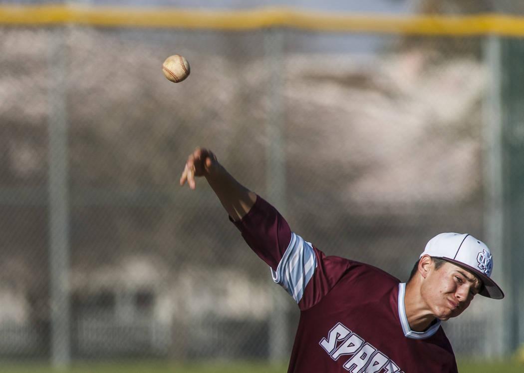 Cimarron-Memorial's Jack Kannon pitches against Palo Verde at Cimarron-Memorial High School on Wednesday, March 14, 2018. Palo Verde won 12-8.  Patrick Connolly Las Vegas Review-Journal @PConnPie