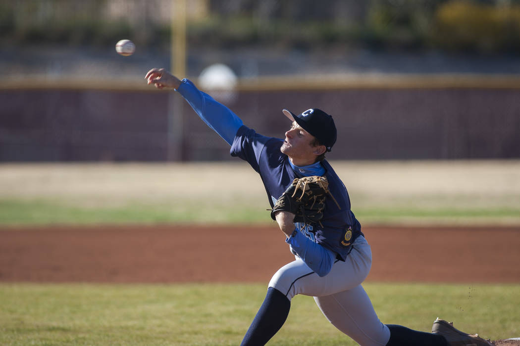 Centennial's Garrett Holden pitches during the bottom of the first inning against Faith Lutheran at Faith Lutheran High School in Las Vegas on Thursday, March 15, 2018. Centennial won 4-3 in the 1 ...