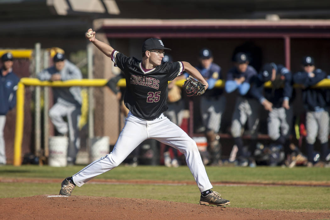 Faith Lutheran pitcher Zack Phillips pitches during the top of the third inning at Faith Lutheran High School in Las Vegas on Thursday, March 15, 2018. Centennial won 4-3 in the 10th inning.  Patr ...