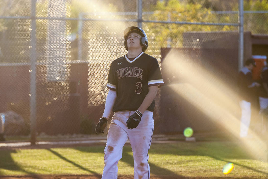Faith Lutheran infielder Lucas Dockery reacts after failing to score in the bottom of the ninth inning against Centennial at Faith Lutheran High School in Las Vegas on Thursday, March 15, 2018. Ce ...