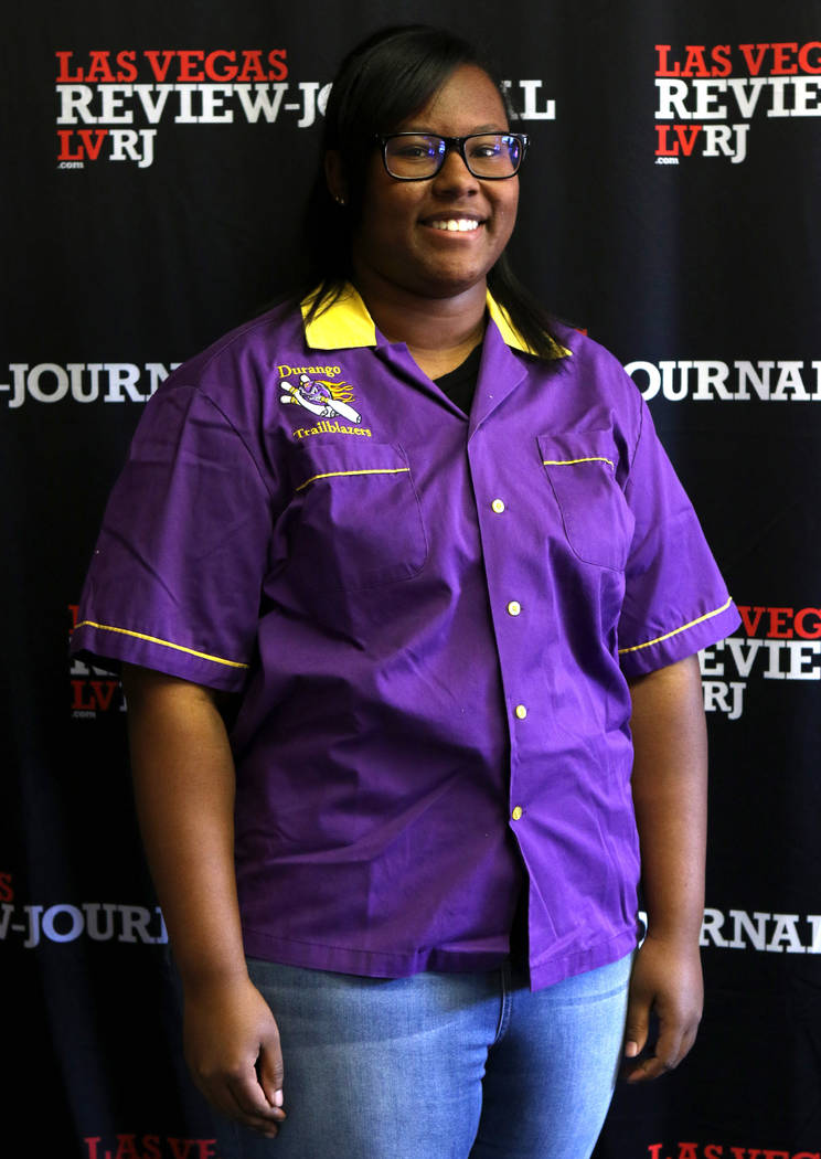 Jaylyn Jenkins from Durango High School's bowling team is photographed at the Review-Journal in Las Vegas, Wednesday, March 14, 2018. She is on the All-Star Team for Best of Nevada Preps. Heidi Fa ...