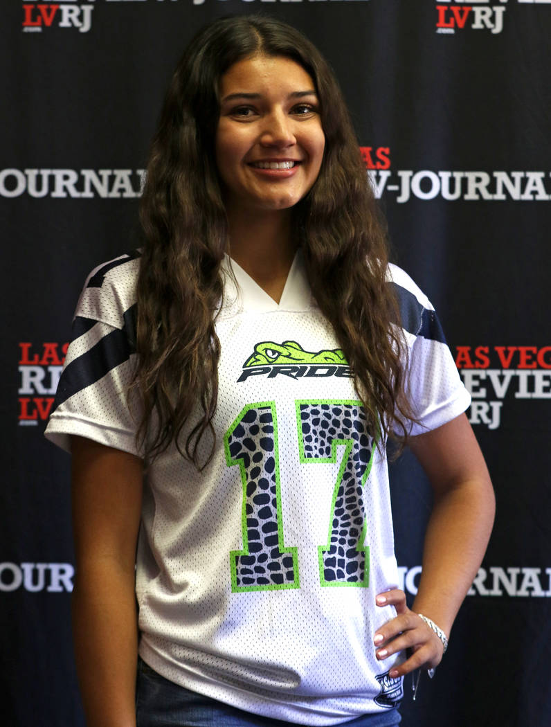 Green Valley High School flag football standout Izzy Madrid is photographed in Las Vegas, Tuesday, March 13, 2018 at the Review-Journal. She is on the All-Star Team for Best of Nevada Preps. Heidi ...