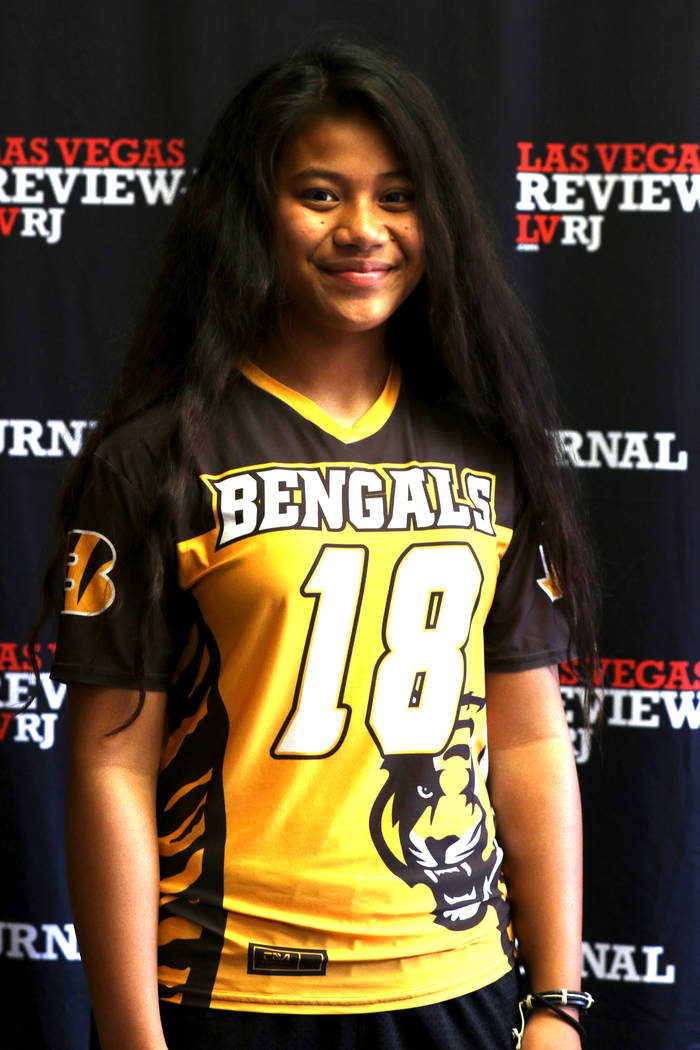 Cindylou Rasiang from Arbor View High School's flag football team is photographed at the Review-Journal in Las Vegas, Tuesday, March 13, 2018. She is on the All-Star Team for Best of Nevada Preps. ...
