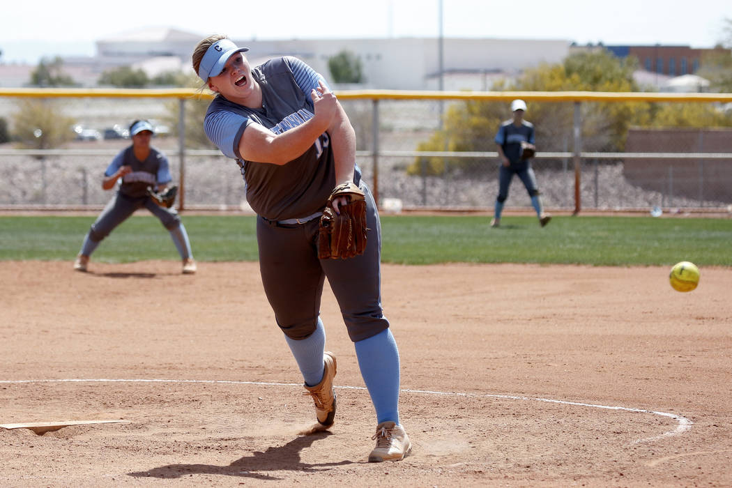 Centennial's pitcher Amanda  Sink (18) pitches against North High School in the third inning during the Spring Jamboree 2018 at Majestic Park in Las Vegas on Thursday, March 29, 2018. Centennial w ...