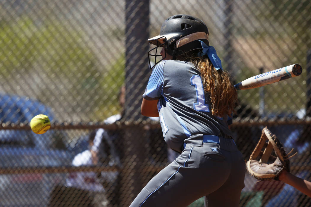 Centennial's Jacqueline Perez Mena (11) bats against North High School in the first inning during the Spring Jamboree 2018 at Majestic Park in Las Vegas on Thursday, March 29, 2018. Centennial won ...