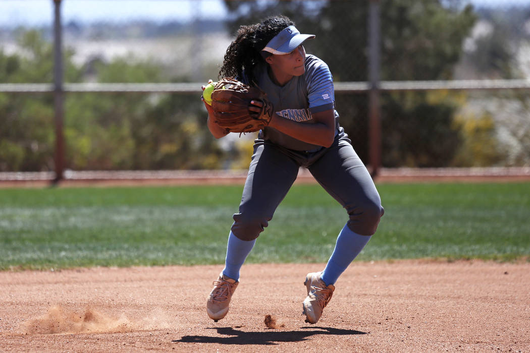 Centennial's shortstop Kiana Tate (4) throws to first base against North High School in the first inning during the Spring Jamboree 2018 at Majestic Park in Las Vegas on Thursday, March 29, 2018.  ...