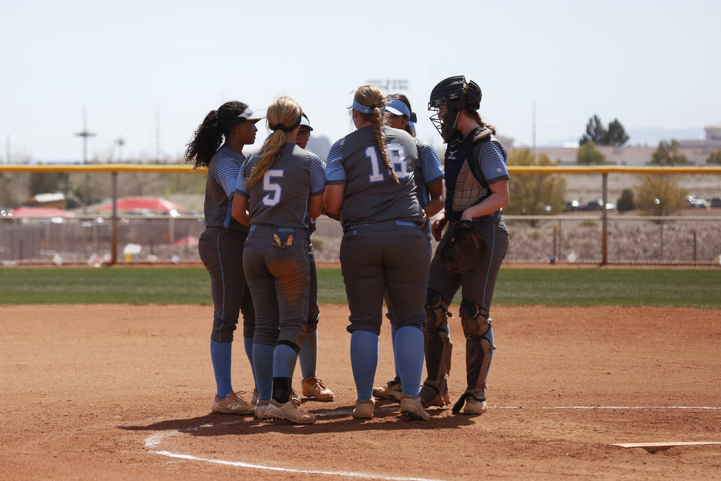 Centennial High School's softball team gathers at the mound during the Spring Jamboree 2018 at Majestic Park in Las Vegas on Thursday, March 29, 2018. Centennial won 6-5. Andrea Cornejo Las Vegas  ...