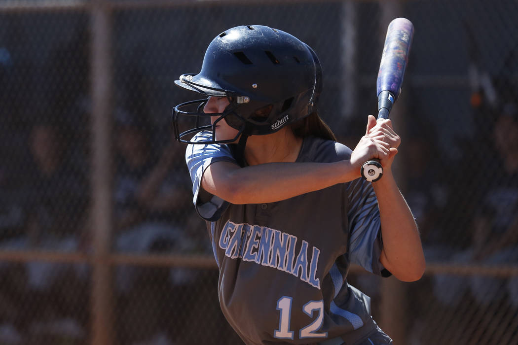 Centennial's outfielder Abby Hanley (12) bats against North High School in the third inning during the Spring Jamboree 2018 at Majestic Park in Las Vegas on Thursday, March 29, 2018. Andrea Cornej ...