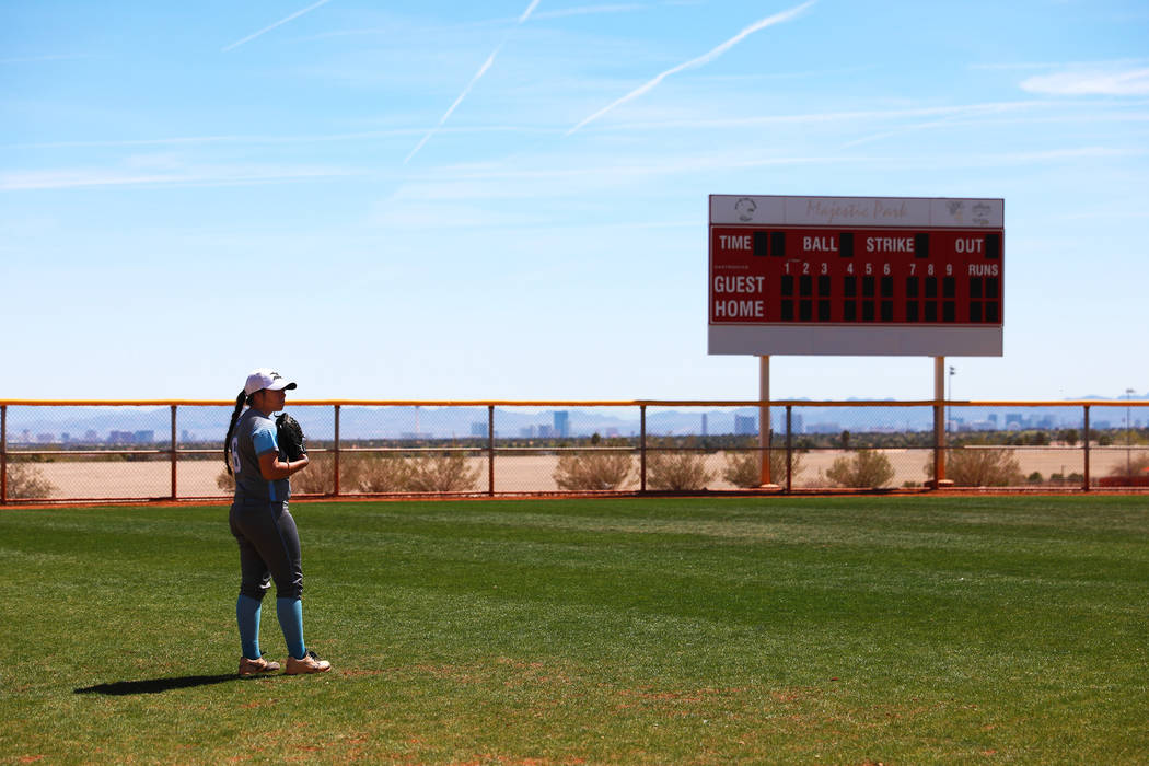 Centennial's Deanna Barrera (06) waits for a throw in the second inning during the Spring Jamboree 2018 against North High School at Majestic Park in Las Vegas on Thursday, March 29, 2018. Centenn ...